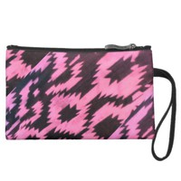 Coral and Black Aztec Zigzag Print Wristlet