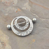 Double Hoop Crystal Nipple Shield Jewelry Barbell 316L 14ga Piercing