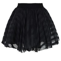 Striped Mini Organza Skirt in Black