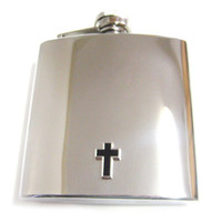 Black Cross Pendant 6 oz. Stainless Steel Flask