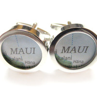 Maui Hawaii Map Cufflinks