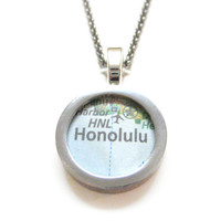 Honolulu Hawaii Map Pendant Necklace