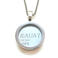 Kauai Hawaii Map Pendant Necklace