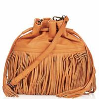 LEATHER MIX FRINGE DUFFLE BAG