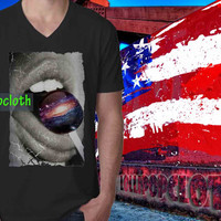V-Neck_lip galaxy_V-Neck Women And Men's.