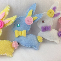 Felt Easter Bunny Hair Clip in Assorted Colors with Felt Bow Tie and Felt Flower Accent