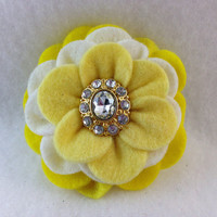 Camellia Felt Flower Hair Clip in Light Yellow, Bright Yellow and White Felt with Rhinestone Button