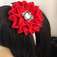 Red Felt Mum Flower on White Satin Headband with a Vintage Style Rhinestone Center