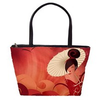 Sakura Asian Geisha Large Shoulder Bag