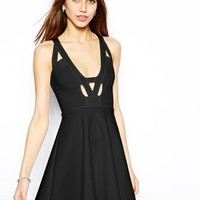 Oh My Love Skater Dress with Notch Plunge Neck