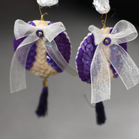 Purple Tassel Earrings - Creme ribbon bow - Beige Sequins Embroidery