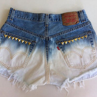 Vintage Ombré Shorts with Studs