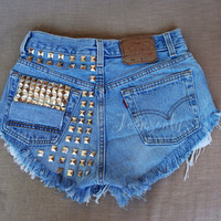 High waisted shorts Levis Strauss studded distressed ripped shredded frayed jeans Soft Grunge Gothic Hipster festival clothing by Jeansonly