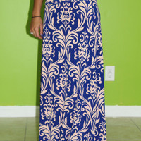 The Mask Maxi Skirt: Royal/Blush