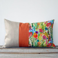 Bright Floral Decorative Pillow | Tresco Liberty Print | Watercolor Flowers | Spring Home Decor by JillianReneDecor | Lumbar Flower Pillow
