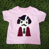 Handmade Felt Appliqued Ron Burgundy Anchorman Toddler Shirt in Pink - $34