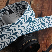 dSLR Camera Strap - Ocean Blue and White Sunprint Feathers - Blue Camera Strap