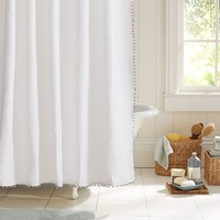 METALLIC POM POM TRIMMED SHOWER CURTAIN