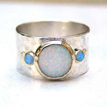 Handmade Engagement Ring - Fine 14k gold ring silver ring White opal, blue opal Gemstone Similar diamond ring MADE TO ORDER