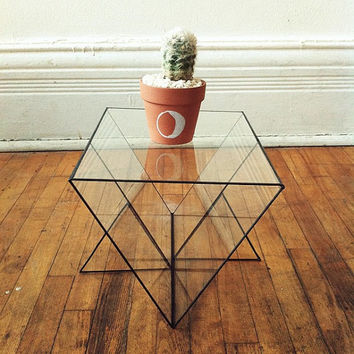 Triangular glass display case