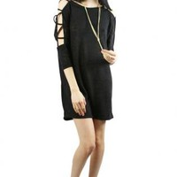Black Criss Cross Sleeve Short Dress
