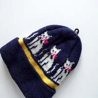 Vintage Children's Cat Pattern Knit Hat 1980s