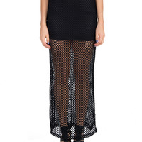 Netted Side Slit Maxi Skirt