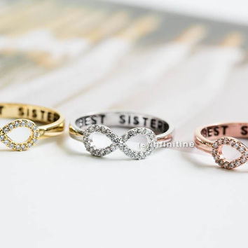 Best sisters ring,Ring,bridesmaid gift,infinite,infinity ring,bridesmaid ring,friendship ring,best friend ring,all crystal ring,R405N