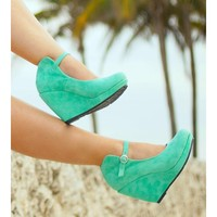 Mint Green Leather Wedge Booties