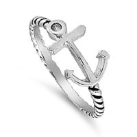 Anchor of My Soul Sideway Cross Ring 8MM Sterling Silver 925