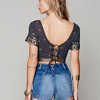 Free People Womens Mirror Crop Top - Lavender Mist,