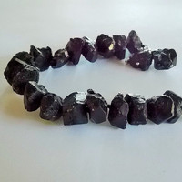 Black Energy - Raw Black Tourmaline Bracelet, rough stone bracelet, Raw Tourmaline, Black Gemstone Bracelet