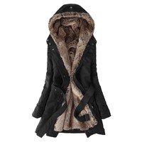 Hee Grand Women's Thicken Fleece Faux Fur Coat