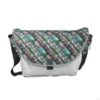 Coral Teal White Zigzag Print Messenger Bag