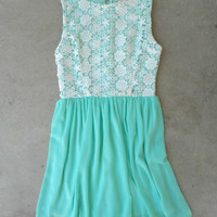 Floral & Crochet Dress in Mint [5247] - $36.00 : Vintage Inspired Clothing & Affordable Dresses, deloom | Modern. Vintage. Crafted.