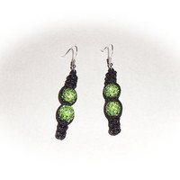 Bling green Shamballa rhinestone crystal pave Dangle Earrings