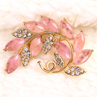 Vintage Pink Large Rhinestone Crystal Gold Flower Floral Bridal Brooch Pin Lot
