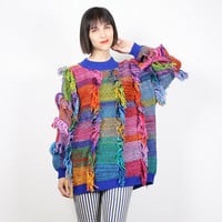 Vintage 80s Sweater Rainbow Knit Jumper 1980s New Wave FRINGE Trim Color Block Pullover Oversized Sweater Mod Textured L XL XXL Extra Large