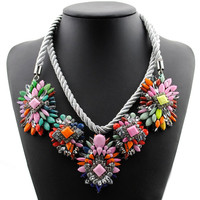 Hot Selling Fashion Mixed Style Chain Crystal Flower Bib Big Statement Necklace