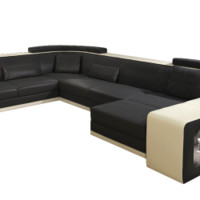 Sydney Leather Sectional, Large Flashy Leather Sofa - Opulentitems.com