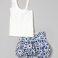 Blue & White Art-Deco Asymmetrical Tank & Skirt - Toddler & Girls | Daily deals for moms, babies and kids
