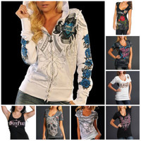 $89 Sinful Skull T-shirt Angel Wings Rose Zip Up Hoodie Sweatshirt Womens S-XL