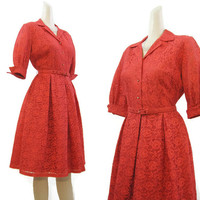 50s 60s Dress Vintage Red Lace Shirtwaist Full Skirt Cocktail Party Rhinestone buttons S
