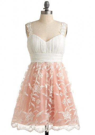 White Sweetheart Cocktail Dress with Lace