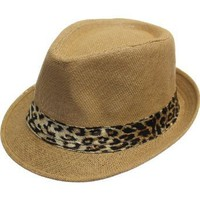 AN1225 Unisex Spring Summer Solid Color Leopard Print Belt Fedoras- Brown