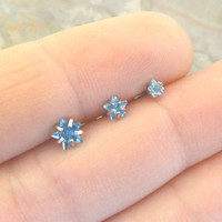 Light Blue Aqua Star Triple Helix Stud Cartilage Earrings