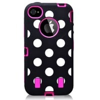 Polka Dots Two Layers Phone Shell Case for Iphone 4/4ss