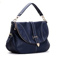 Metallic Top Handle Tote Fold Over Shoulder Bag Handbag