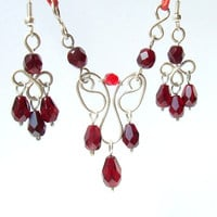 Ruby red necklace earrings jewelry silver plated collection, burgundy deep red