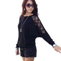 Fashion Womens Korean Women Round Neck Mesh Decor Sleeve Lady Spring Loose Shirt